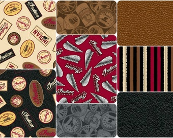 Open Road Indian Motorcycle Cotton Fabric by Quilting Treasures! [Choose Your Cut Size]