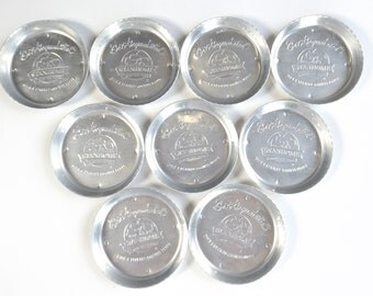 Vintage Stanley Aluminum Cup Coasters Set of 9 Get Acquainted StanHome with a Hostess Party