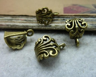 30 Antique Bronze Hanging Head Jewelry Bails AC7717