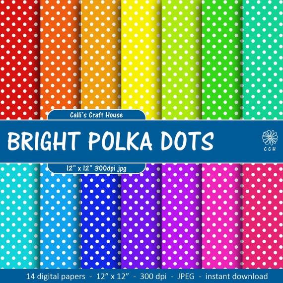 Bright Polka Dot Digital Papers Rainbow polka dots white