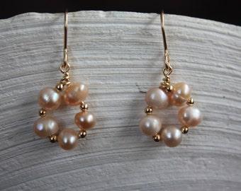 June Birthstone Pearl and Gold Earrings