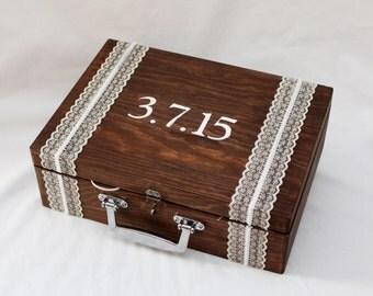 Wedding Ceremony Box, Wine Ceremony Promise Box,  Memory Keepsake Box  Card Box, Pesonalized Wine Ceremony Promise Box