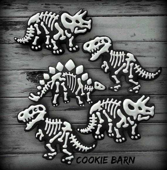 Jurassic Dinosaur Fossil Birthday Decorated Sugar by CookieBarn