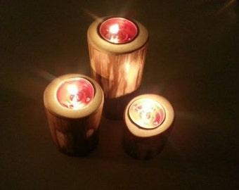 Rustic Set of 3 Poplar Candle Holders