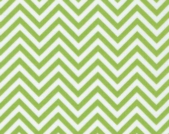 Lime Green Chevron Fabric - Remix by Ann Kelle from Robert Kaufman. Zig Zag pattern. 100% cotton. AAK-10394-50 LIME