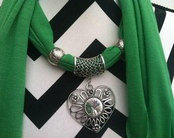 Pendant scarf, jewelry scarf - Jeresy knit scarf