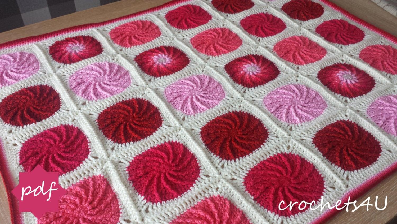 crochet pattern twirling circle afghan crochet by Crochets4U