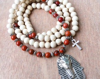 Egyptian Mala Beads | Ankh Necklace | Red Jasper & White Wood | 108 Bead Mala Yoga Beads | Eye of Horus, Pharaoh Pharaoh Pendant Necklace