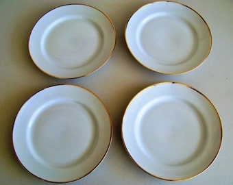 Porcelanes Germer 4 Dinner Plates White With Gold Trim