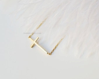 Gold sideways cross necklace/ Gold Filled necklace, dainty everyday necklace, wedding, birthday, bridesmaid gifts,