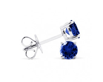 Classic 9ct White Gold Blue Sapphire Stud Earrings