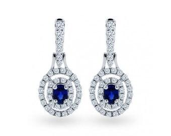 Double Halo Blue Sapphire Drop Earrings