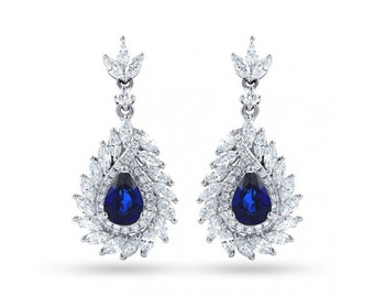 Athena Sri Lankan Sapphire And Diamond Earrings