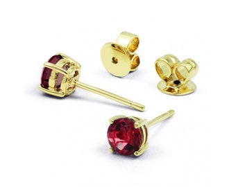 Classic 9ct Yellow Gold Ruby Stud Earrings