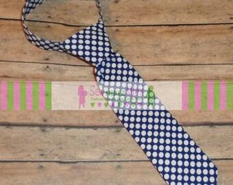 Infant Child Youth Teen Men Custom Navy Blue and White Dot Necktie