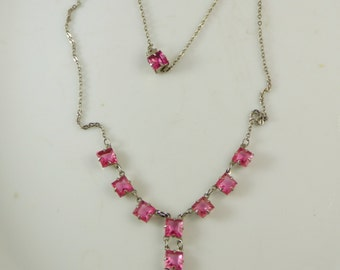 Deep Pink Art Deco Faceted Glass Necklace, Prong set, open back glass stones