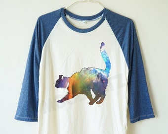 Galaxy cat tshirt cat shirt animal tshirt galaxy tshirt baseball tshirt baseball shirt 3/4 long sleeve tshirt women tshirt men tshirt