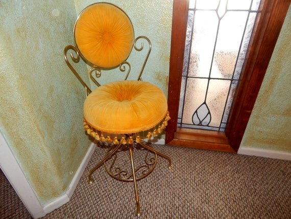 Reserved For Kimberly Vanity Chair Swivel Seat Golden Yellow