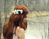 blue Flower crown Festival floral crown Rustic bridal circlet boho hippie flower halo Woodland wedding flower crown elven flower headband