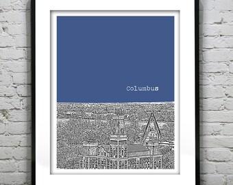 Columbus Skyline Poster Print Art Indiana IN Version 2