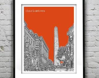 Charlestown Boston Massachusetts Skyline Poster Art Print MA Version 6
