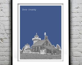 Door County Wisconsin Poster Print Art Skyline WI Sherwood Point Light