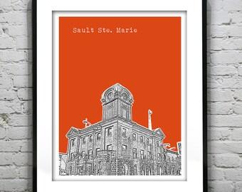 Sault Ste. Marie Ontario Skyline Poster Art Print Canada Art Print Version 1