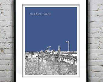 Sunset Beach North Carolina Skyline Art Print Poster NC