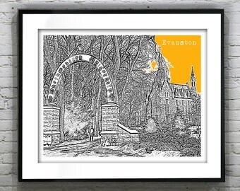 Evanston Illinois Poster Print City Skyline Art IL Version 4
