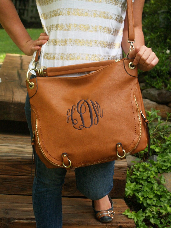 monogrammed purse   hobo bag   crossbody by iflewthenest on etsy