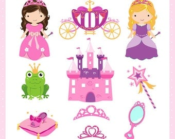 princess clipart set - princess story pinks Clip Art / Digital Clipart - Instant Download - EPS and PNG files included - 10 princess clipart