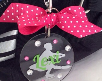 Figure Skater Sit Spin Bag Tag, Personalized, Gifts for Figure Skaters