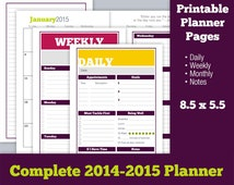 Complete Printable Planner Pages 2014 2015 - Daily, Weekly, Monthly, Notes - Half Letter 8.5 x 5.5 Organic Enthusiasm