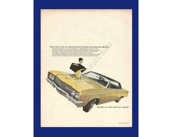 BUICK SKYLARK Gran Sport Automobile Original 1965 Vintage Extra Large Color Print Ad  - Mod Woman w/ Yellow Car