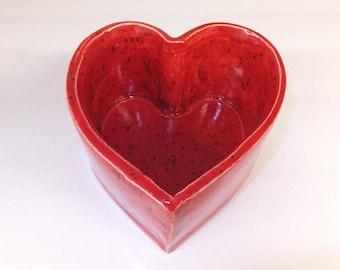 Red Heart Ceramic Bowl, Rustic Handmade Stoneware Sweetheart Bowl, Wild Crow Farm Pottery