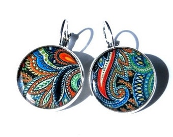 PAISLEY EARRINGS - Paisley Pattern - Blue BOHO Earrings - Bohemian Earrings - Hippie Earrings - Indian Pattern - Ethnic Earrings - Tribal