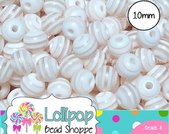 10mm WHITE STRIPED Beads Striped Resin Beads Round Plastic Beads Stripes Gumball Beads 50 Stripe Beads Bubble Gum Beads Bubblegum Beads