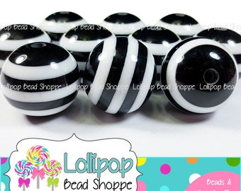 20mm BLACK & White Stripe Beads Chunky Necklace Beads Striped Resin Beads Round Plastic Halloween Bubblegum Beads Bubble Gum Beads SRB04