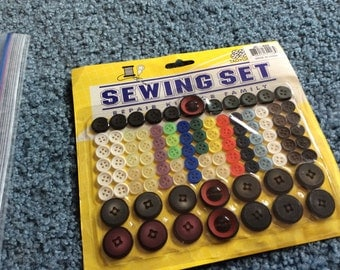 Vintage sewing set, buttons for the whole family