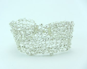 Silver beaded knitted wire cuff, Hand knitted bracelet, Jewellery