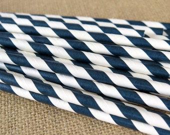 Midnight Blue Striped Paper Straws - Pale Blue - 25 Count - Birthdays, Weddings, Bridal Shower, Baby Shower