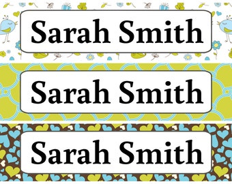 Personalized Waterproof Labels Waterproof Stickers Name Label Dishwasher Safe Daycare Label School Label - Cute Bird Patterns