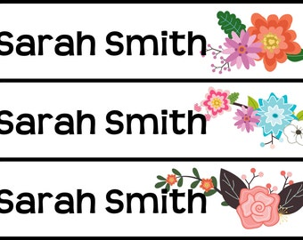 Personalized Waterproof Labels Waterproof Stickers Name Label Dishwasher Safe Daycare Label School Label - Lovely Flowers