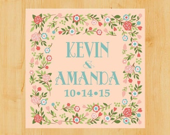 Wedding Labels | Shower Labels | 2 Inch Square | Lovely Floral Border  | Wedding Stickers