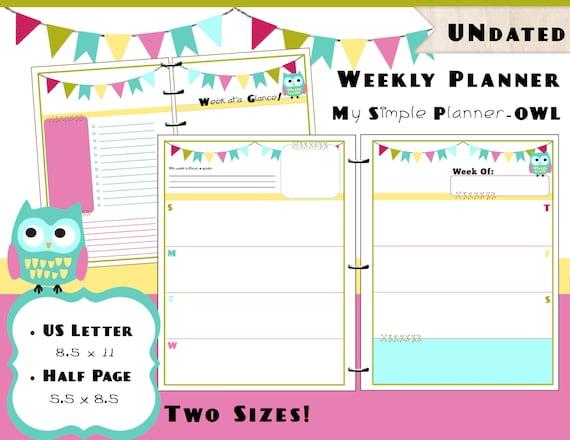 Calendar Printables Weekly Tumblr : Printable weekly calendar planner pdf refills us letter
