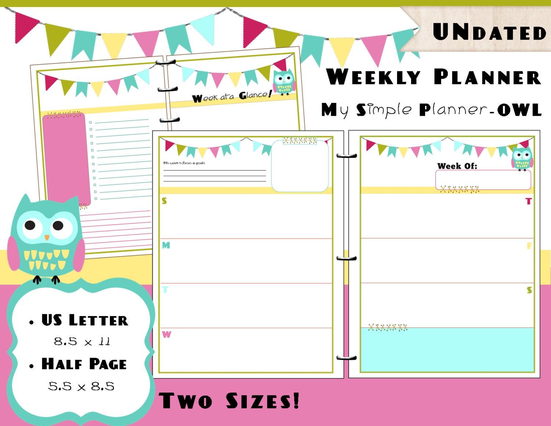 Weekly Calendar Planner Refills : Printable weekly calendar planner pdf refills us letter