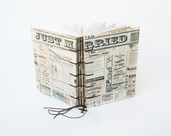 Just Married - Handmade journal, Sketchbook, Guestbook