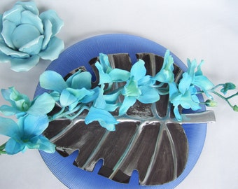 4 Stems Royal Blue Aqua Dendrobium Orchid  Silk Flower Stems