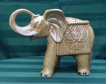 Vintage Ceramic Pottery Elephant, Good Luck Elephant, Home Decor