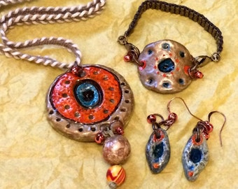 Mixed Media Paper Clay Pendant Necklace set with Matching Earrings and Bracelet